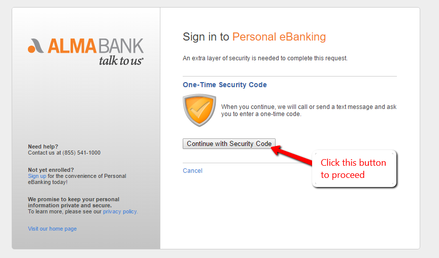 Continue with the Security Code.