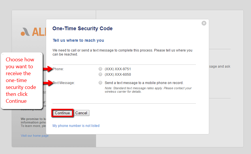 Choose how to receive the one-time security code then click continue.