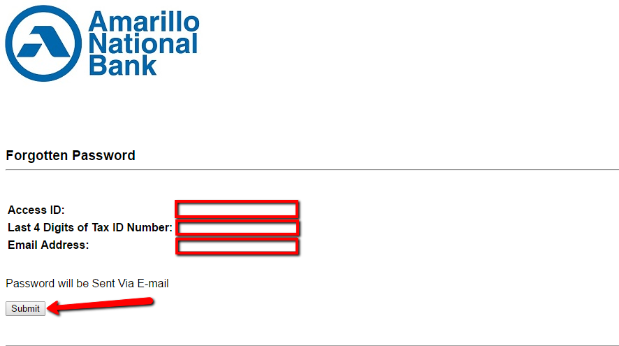 Enter Access ID, Last 4 Digits Of Tax OID Number, and Email Address. Then click Submit option.